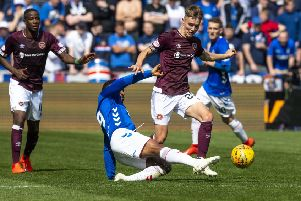 Harry Cochrane evades the challenge of Rangers' Jermain Defoe last Saturday. Picture: SNS.