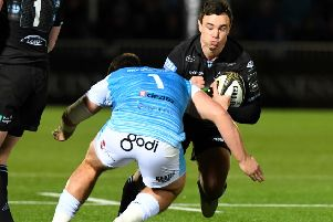 Lee Jones in action for Glasgow in the Pro14. Pic: SNS/Gary Hutchison