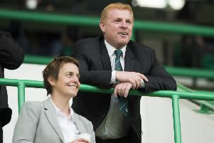 Neil Lennon and Hibernian chief executive Leeann Dempster. Pic: SNS/Ross Parker