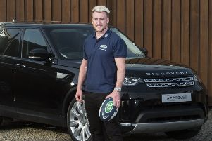 Stuart Hogg at Land Rover dealer Taggarts in Glasgow.   Picture: Paul Devlin/SNS