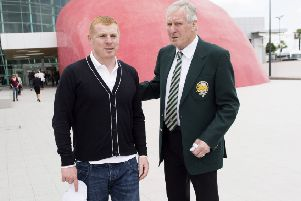 Neil Lennon, left, with Billy McNeill in Lisbon in 2014. Picture: Craig Williamson/SNS