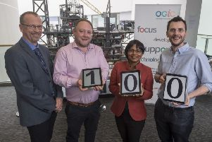 Mark Robertson, project manager at OGIC; Liam Manderson, managing director at Targe Environmental Consulting; Nirmalie Wiratunga, research professor at RGU; and David Corsar, lecturer at RGU. Picture: Contributed