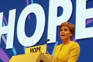 First Minister of Scotland Nicola Sturgeon speaks during the SNP spring conference at the EICC in Edinburgh. Picture: PA