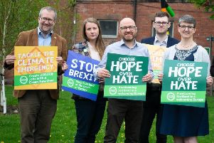 Green councillor Chas Booth joined other leading Greens to launch the party's European election campaign