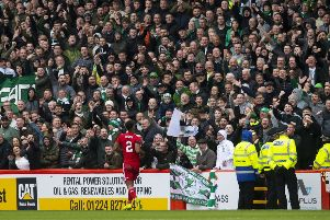 Celtic fans in the away end at Aberdeen. Picture: SNS
