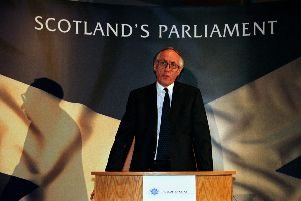 Donald Dewar, Secretary of State for Scotland, at a press conference to launch the Labour Party's plan for Scotland post-referendum - 'Scotland's Parliament'