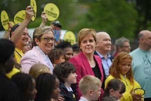 The SNP MP for Edinburgh South West, Joanna Cherry at a campaign stop with Nicola Sturgeon