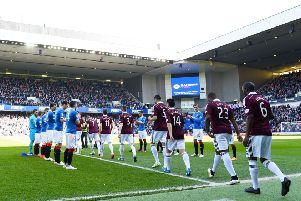 Rangers giving Hearts a guard of honour in 2015. Picture: SNS