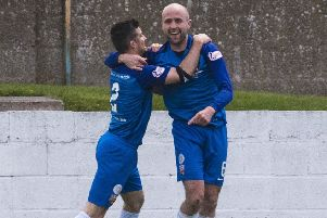 Montrose's Ross Campbell celebrates his opening goal against Queen of the South. Picture: SNS