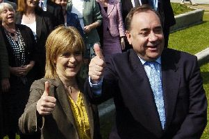 Then SNP deputy leader Nicola Sturgeon and party leader Alex Salmond celebrate their 2007 breakthrough election victory, which saw the Nationalists take power in Holyrood for the first time. Picture: Phil Wilkinson/TSPL