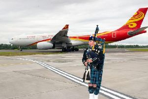 The first flight from Beijing arriving at Edinburgh Airport last June. Picture: Ian Georgeson