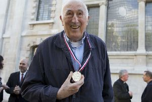 Jean Vanier poses for a photograph after receiving the Templeton Prize at St Martins-in-the-Fields church in London. Picture: AP