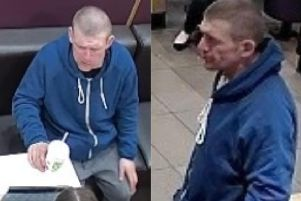 The man police want to speak to in connection with an incident at Paddy Power in Moltherwell