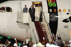 Abdelbaset al-Megrahi being greeted on his arrival in Tripoli on 20 August, 2009 after his release. Picture: AFP