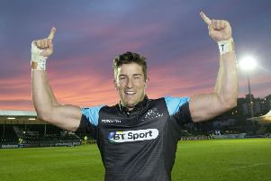 DTH van der Merwe celebrates Glasgow Warriors' 2015 Pro12 semi-final win over Ulster. Picture: SNS