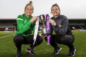 Hibernian's Joelle Murray, left, and Glasgow City's Hayley Lauder with the SWPL Cup. Picture: SNS