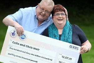Christine and Colin Weir won 161,653,000GBP on the EuroMillions in July 2011.The couple, from Largs, North Ayrshire, were married for 38 years are now divorcing