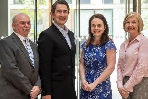 From left: Stuart Yuill, director at DSL; Andrew Kinsler, operations director at SMS; digital economy minister Kate Forbes; and Liz McCutcheon, Project Manager at LESL. Picture: Phil Wilkinson