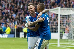 Barrie McKay celebrates with James Tavernier after netting against Celtic in the 2016 Scottish Cup semi-final. Picture: SNS
