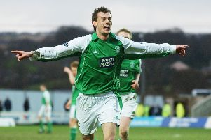 Steven Fletcher celebrates a goal for Hibs in February 2006. Picture: Robert Perry