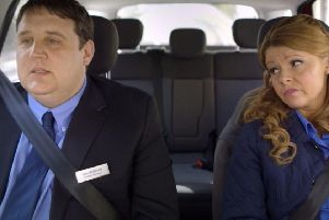 Peter Kay and Sian Gibson in TV show Car Share