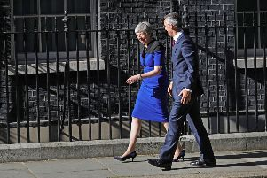 Prime Minister Theresa May welcomes Nato Secretary General Jens Stoltenberg to 10 Downing Street, London. PRESS ASSOCIATION Photo. Picture date: Tuesday May 14, 2019. Photo credit should read: Aaron Chown/PA Wire