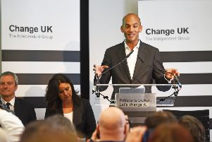 Chuka Umunna speaks during a Change UK in London. The party has now lost two candidates in Scotland. Picture: PA