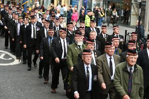 Justice for Northern Ireland Veterans Scotland parade in Glasgow. Picture: John Devlin