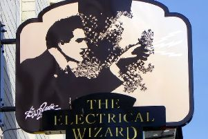 Aberdeenshire magician Walford Bodie is depicted on this pub sign