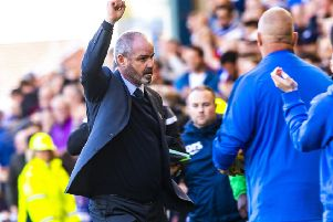 Steve Clarke celebrates after Kilmarnock's 1-0 win over Hibs at Rugby Park.