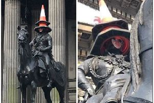 The face of Lewis Capaldi adorned the Duke of Wellington statue on Thursday. Picture: Lewis Calamari/Twitter