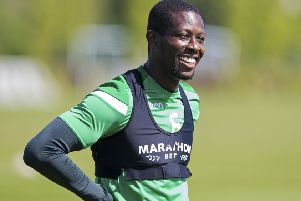 Marvin Bartley has a laugh at his final training session as a Hibs player. Picture: SNS Group