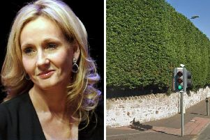JK Rowling and one of the hedges concerned. Pic: Google Maps