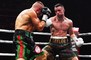Josh Taylor turned the screw on Ivan Baranchyk in the 6th round. Picture: Paul Devlin/SNS