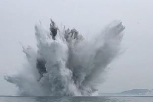 The suspected WWII bomb was detonated off the coast of the Isle of Wight. PIC: PA.