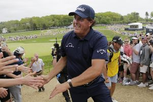 Phil Mickelson mingles with his adoring public after completing his final round at the US PGA at Bethpage Black in Farmingdale, New York. Picture: AP
