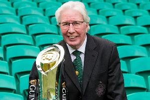 Jim Craig with the Pro14 trophy at Celtic Park. Picture: SNS/SRU