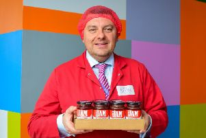 Stephen Currie, commercial director, pictured with some of the companys famous jams. Picture: Julie Howden