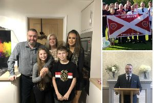 Alex Currie and his family and some of those planning to take part in the 39th minute tribute at Hampden on Saturday. Pictures: contributed