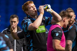 Glasgow Warriors' Rob Harley rehydrates during training for the Pro14 final. Picture: SNS