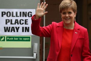 Nicola Sturgeon cast her vote in Glasgow today. Picture: PA