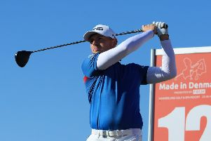 Matt Wallace tees off at the 12th on his way to  carding a four-under par 67 in the first round of the Made in Denmark tournament. Picture: Getty.