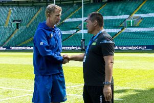 Leinster coach Leo Cullen, left, with Glasgow coach Dave Rennie. Picture: SNS