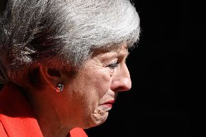 Theresa May lost her usual composure at the end of her speech (Picture: Leon Neal/Getty Images)