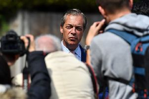 Nigel Farage arrives at Biggin Hill polling station to vote. Picture: Ben Stansall/Getty