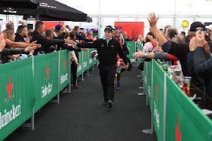 Bob Macintyre responds to fans as they line up to congratulate him on his performance in Denmark. Picture: Getty.
