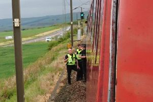Police boarded the train in East Lothian