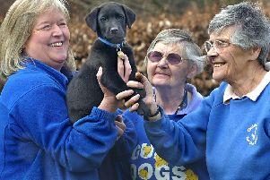 Betty Brown, right, with, from left, Rosheen Milner, puppy Uri and sister Alison Brown