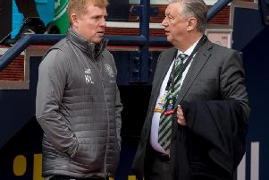 Celtic manager Neil Lennon (left) with club chief executive Peter Lawwell