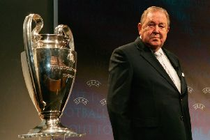 Lennart Johansson pictured with the Champions League trophy in 2005. Picture: Getty